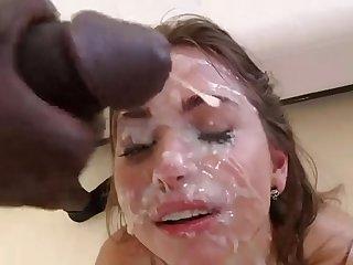 Young & nice girl bukkake -face..