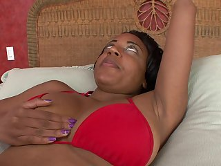 Ebony with huge tits rides white dick in..