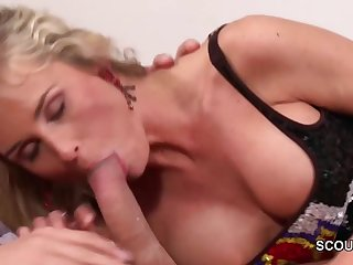 MILF Step-Mom Wake Up Step-Son to Get..