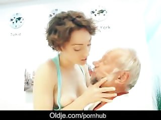 Pervert foreign grandpa fucking busty..