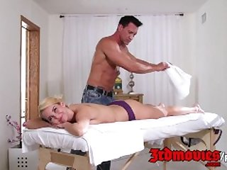cute blonde gets a massage before a cum..